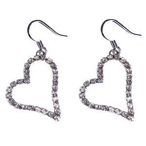 Crystal Heart Silver Alloy Earrings